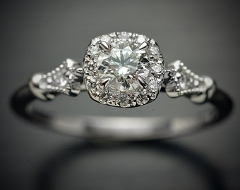 Platinum diamond halo engagement ring 0.50ct, 0.45ct or 0.30ct center with cushion halo also white yellow gold GIA Certified vintage classic