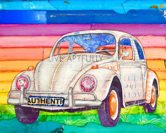 Volkswagen Vw Bug Beetle ART PRINT or CANVAS classic vintage retro mixed media collage poster wall home decor,All Sizes