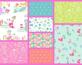 Merryn 8 Pack Mermaid  Cotton Quilt Fabrics Crafting Sewing Quilting Material by Andover