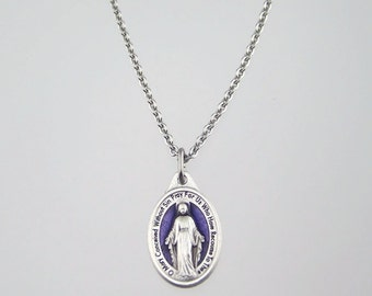 Violet Enamel Miraculous Medal Necklace