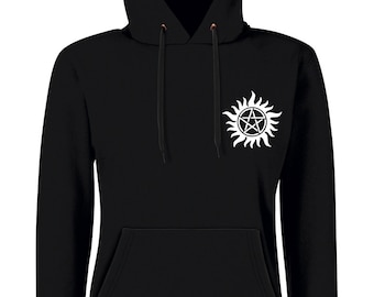 Hooded black Supernatural, woman, trap has demons, winchesters, castiel, Sam and Dean, anti possession, heart pattern