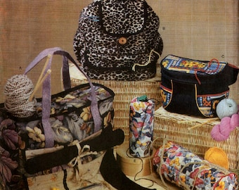 Uncut KNIT & CROCHET ORGANIZERS Pattern Simplicity #4542 Tote Backpack Fanny Pack Bag Yarn Caddy Fabric Sewing Carla Reiss Crafts