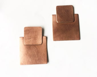 Square Copper Studs