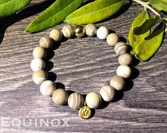 Flint Gold Vermeil Bracelet / Striped Flint / 18k Gold Vermeil / 10mm Natural Gemstone Bracelet