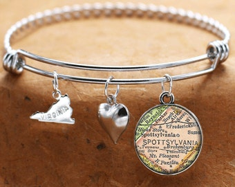 Map Charm Bracelet Spotsylvania Virginia Antique Map State VA Bangle Cuff Bracelet Vintage Map Jewelry Stainless Steel Bracelet