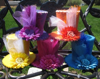 "Alice in Wonderland Decorations, Set of 5 Top Hat Headbands, Mad Hatter Tea Party, Onederland Birthday, Fascinators, Shower (3.5"" Tall)"