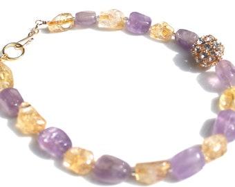 Natural amethyst and citrine Swarovski necklace