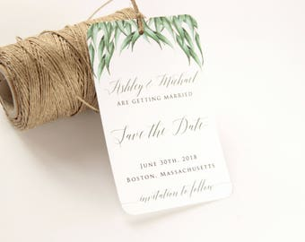 SAMPLE, Eucalyptus Save the Date Tag, Save the Date Tag, Save the Date Luggage Tag, Greenery Wedding Tag, Destination Wedding Save the Date