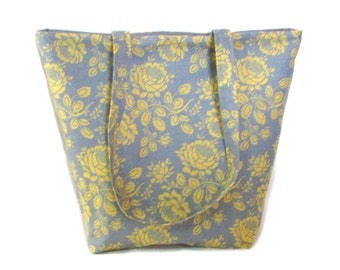 Gray Floral Tote Bag, Yellow Flowers, Cloth Purse, Fabric Bag, Handmade Bag, Shoulder Bag, Fabric Handbag