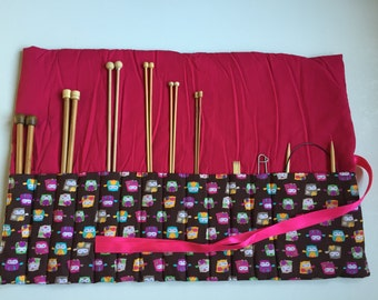 Knitting roll (owls brown pink)