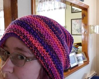 Purple-Orange-Pink knit slouch beanie