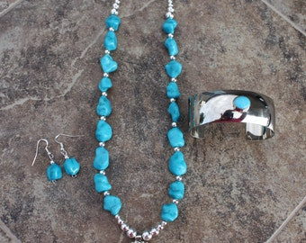 """24"""" Turquoise Necklace with Matching Cuff & Earrings"""