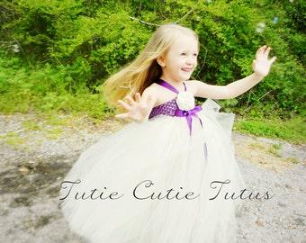 Ivory and Purple Flower Girl Dress NB-8