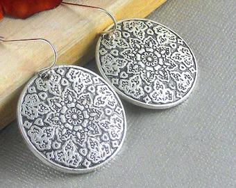 Sale Mandala Earrings, Antique Silver, Medallion Earring, Coin, Coin Earrings, Ethnic, Gypsy, Tribal Earrings, Statement Earrings