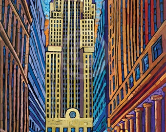 Chicago Board of Trade, CBOT building, CME building, downtown Chicago, LaSalle Street canyon, 8x10 art print by Anastasia Mak