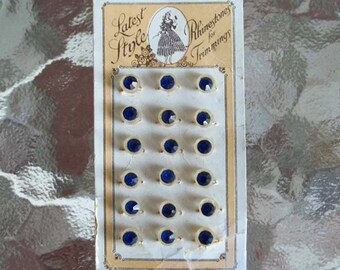 Vintage Art Deco Set 18 Tiny Frosted Glass Buttons w Cobalt Rhinestones.. Orig card...Doll Clothes, Delicate Garments
