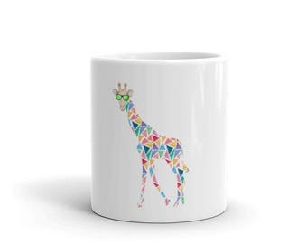 Mug - Giraffe white mug - ceramic giraffe mug - colorful giraffe - tall animal