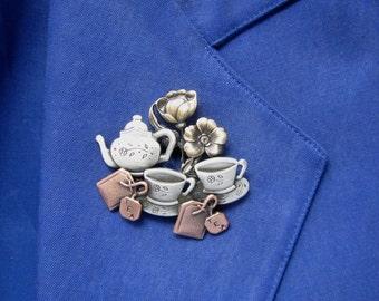 Tea For Two Brooch- Tea Lovers brooch- Tea Lovers Gift- mixed metal jewelry