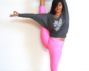 """Yoga Shirt """"Love and Love and Love"""" Women's Flowy Long Sleeve Shirt. MADE TO ORDER"""