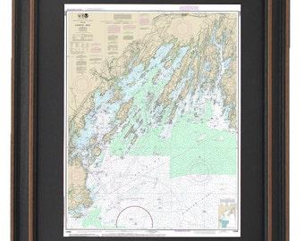Framed Nautical Chart - Casco Bay; NOAA13290