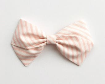 Baby Girl, Toddler, Girls Fabric Bow Headband or Hair Clip - Candy Striper
