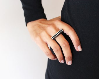 Modular Collection - Ring - sterling silver black oxide contemporary jewelry abstract urban geometric architecture statement contrast