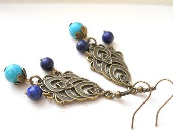 turquoise boho earrings chandelier earrings turquoise earrings bohemian style turquoise and lapis earrings gypsy earrings