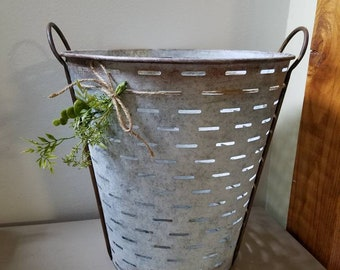 Large Olive Bucket Farmhouse Basket with faux plants
