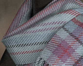 Handwoven scarf / merino wool scarf /winter scarf / gray scarf / man's scarf / woman's scarf