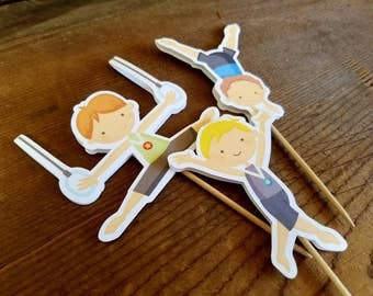 Gymnastics Boys Party - Set of 12 Double Sided Assorted Boy Gymnast Cupcake Toppers by The Birthday House