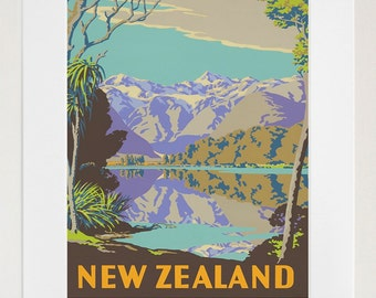 New Zealand Travel Poster Art Print Retro (TR114)