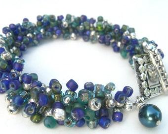 Bracelet Perles bleue, Sarcelle et argent