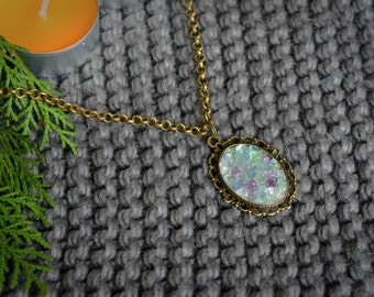 Natural stone necklace Statement necklace Fluorite necklace Gift for her Everyday necklace  Boho necklace Gemstone necklace Stone pendant