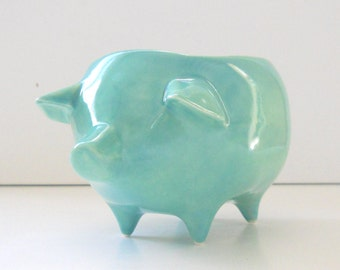 Pig Planter, Ceramic Pig, Succulent Planter, Vintage Design, Aqua Blue, Ceramic Planter, Sponge Holder, Home and Garden, Pig Gifts