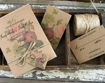 Floral Wedding Invitation, Vintage Botanical Wedding Invitations