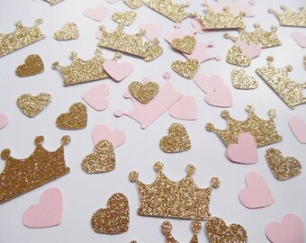 Princess Crown Confetti, Pink and Gold Heart Confetti, Party Decorations, Birthday Party Decor, Table Scatter