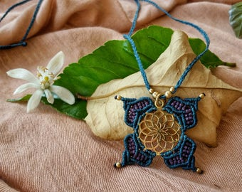 mandala necklace, tribal turquaize necklace, micro macrame necklace, brass mandala charm, boho necklace, macrame jewelry hippie necklace