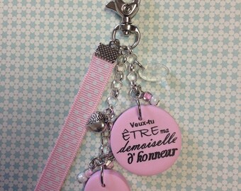 """Will bridesmaid keychain or bag charm you be my bridesmaid?"""