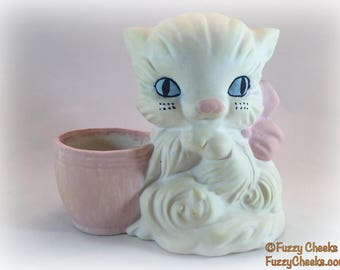 Vintage Kitten Partially-finished Ceramics White Cat Lovers Gift home decor 1970s seventies planter gardening plant flowerpot unfinished DIY