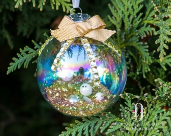 Gold Glitter Gem Iridescent Glass Round Ornament, Bow, Sparkle Snowballs, Double-Satin Ivory Ribbon, Christmas Holiday Tree Decor