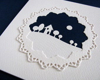 Silhouette on Midnight Blue Sky with Ivory Lacey Edged Circle on Creamy Ivory Card / 5.5 x 5.5 inches / Ready to Ship