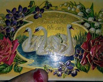 Sale-1909 Birthday Postcard- Swans, Violets, Roses, Sweetpeas
