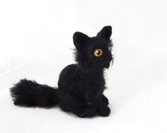 Black cat ornament,  Custom kitten Sculpture, Halloween cat Figurine made to order - small size