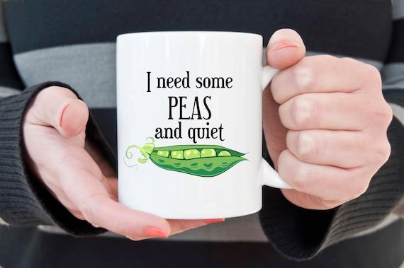 Peace and quiet pun coffee mug