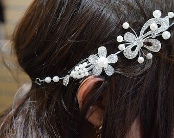 Crystal Hair Comb, Wedding Hair Comb, Bridal Hair Comb,  Pearl Hair Comb, Floral Hair Comb, Bridal Headpiece,Swarovski shine #307317
