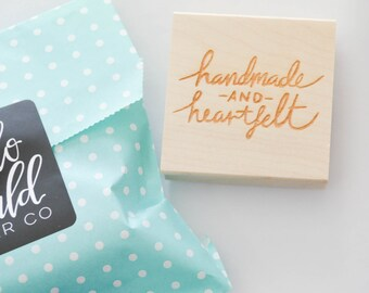 Etsy Shop Stamp, Handmade and Heartfelt, Handmade with Love Stamp, Shipping Stamp, Packaging Stamp, Stamp for Etsy Shop, Stamp for Packages