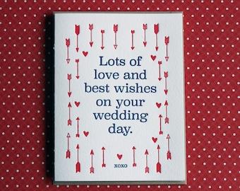 Letterpress Card - love & best wishes wedding day