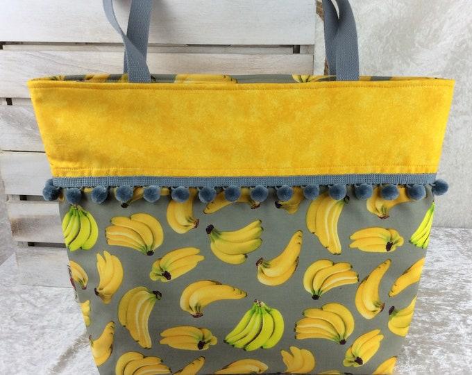 Handmade Beach tote shoulder bag Pom Pom shopping day bag purse fabric shopper bonkers Bananas