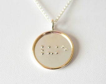 Large 7/8 Inch Two-Tone Custom Braille Pendant and Necklace - Sterling Silver Disc with Gold Filled Rim - Stamping on BOTH Sides