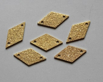 50pcs Raw Brass Rhombus Connectors With Two Hole,Stamping Tags Findings 17mm x 9mm - F85